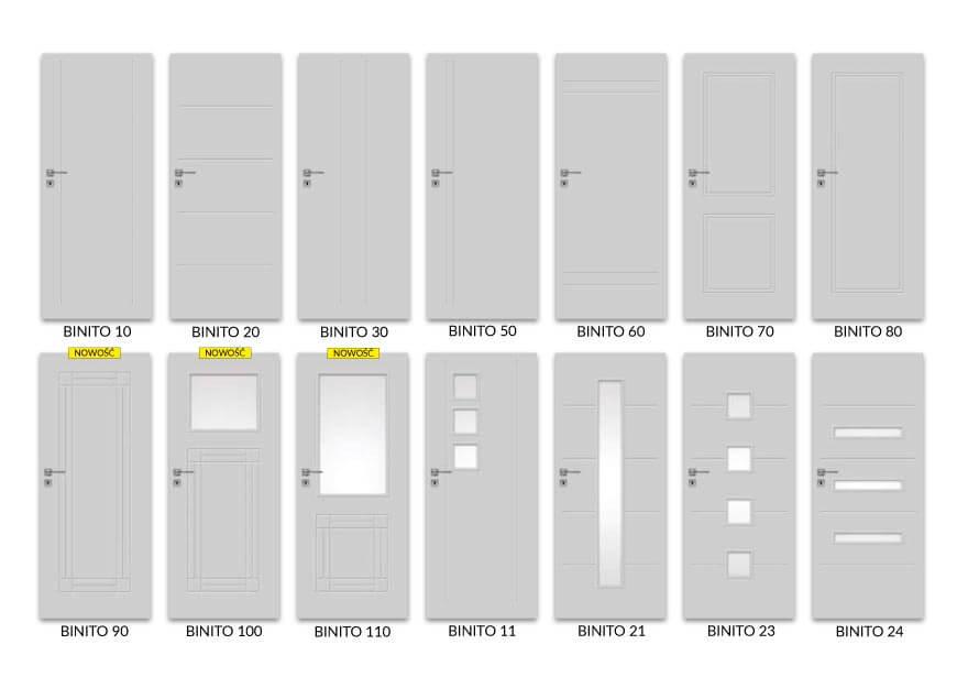 Opcje drzwi wewnętrznych z serii Binito, DRE - Salony HOFF