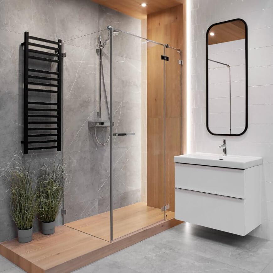 aranżacja łazienki z czarnym grzejnikiem - trendy 2021