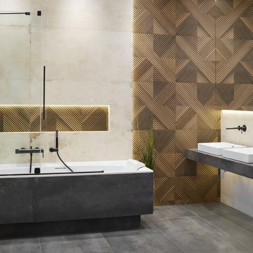 Aranżacja łazienki z płytkami imitującymi drewno salon HOFF trendy 2021