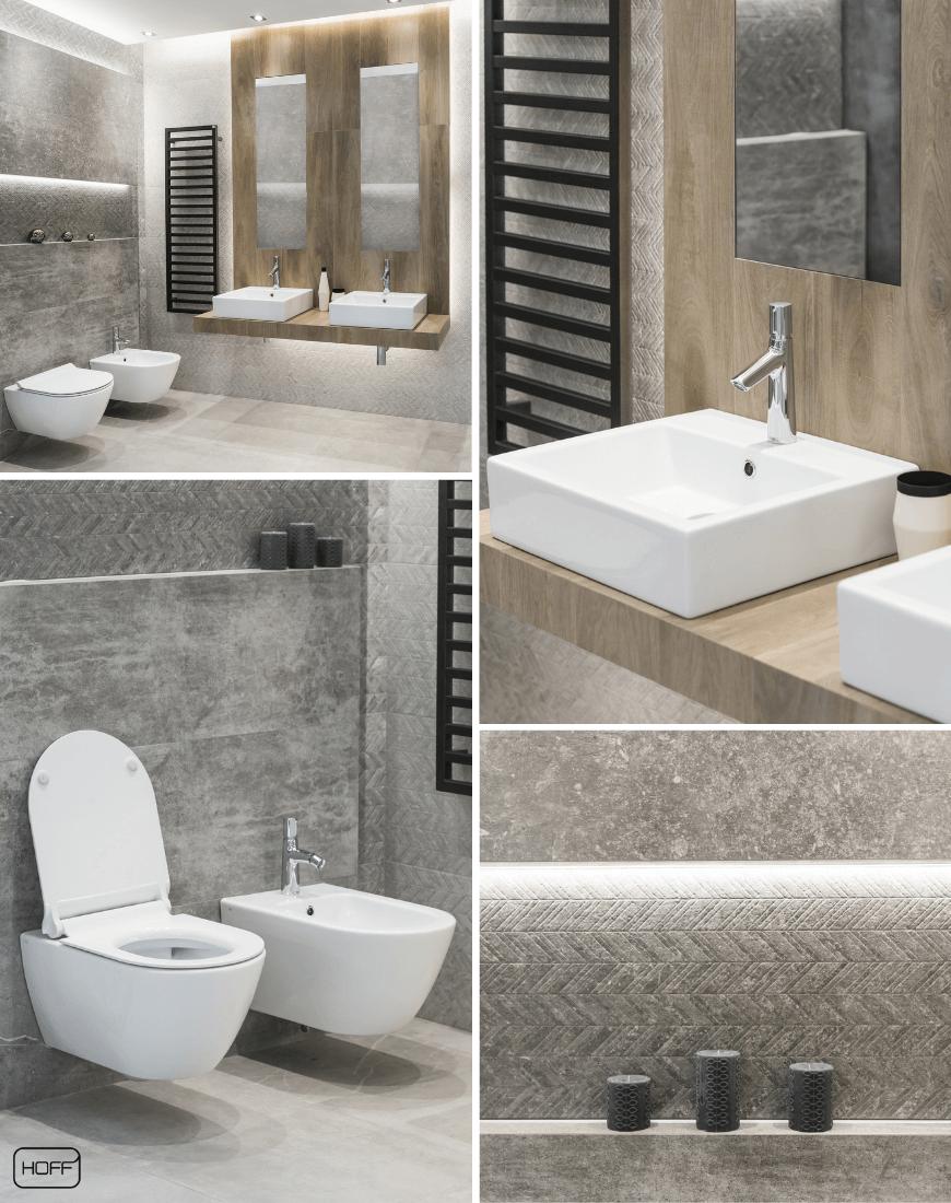 Aranżacja Nickon Steel w Salonie HOFF_nowoczesna łazienka_modna łazienka_trendy łazienkowe 2019_betonowe płytki_płytki drewno_płytki strukturalne_dekory