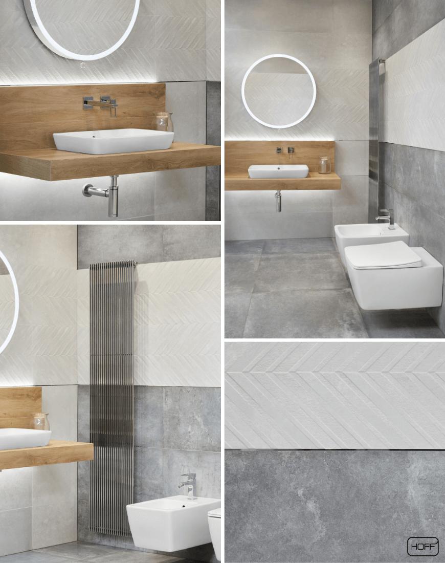 Aranżacja Rue De Paris w Salonie HOFF_nowoczesna łazienka_modna łazienka_trendy łazienkowe 2019_betonowe płytki_płytki 3D_płytki strukturalne