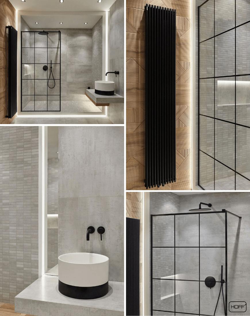 Aranżacja Shapes Stripes Teak w Salonie HOFF_nowoczesna łazienka_modna łazienka_trendy łazienkowe 2019_betonowe płytki_płytki drewnopodobne_płytki strukturalne