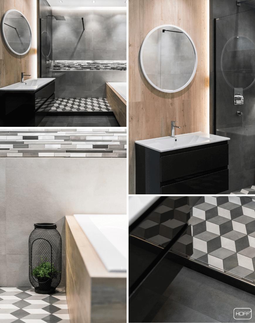 Aranżacja Town Soft Grey w Salonie HOFF_nowoczesna łazienka_modna łazienka_trendy łazienkowe 2019_czarna łazienka_płytki drewnopodobne_płytki geometryczne