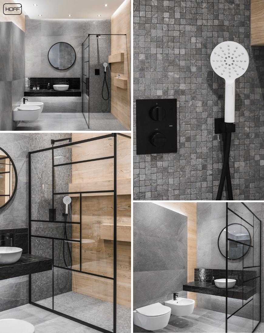 Aranżacja X-Rock Grey w Salonie HOFF_nowoczesna łazienka_modna łazienka_trendy łazienkowe 2019_łazienka w drewnie i kamieniu_szara łazienka