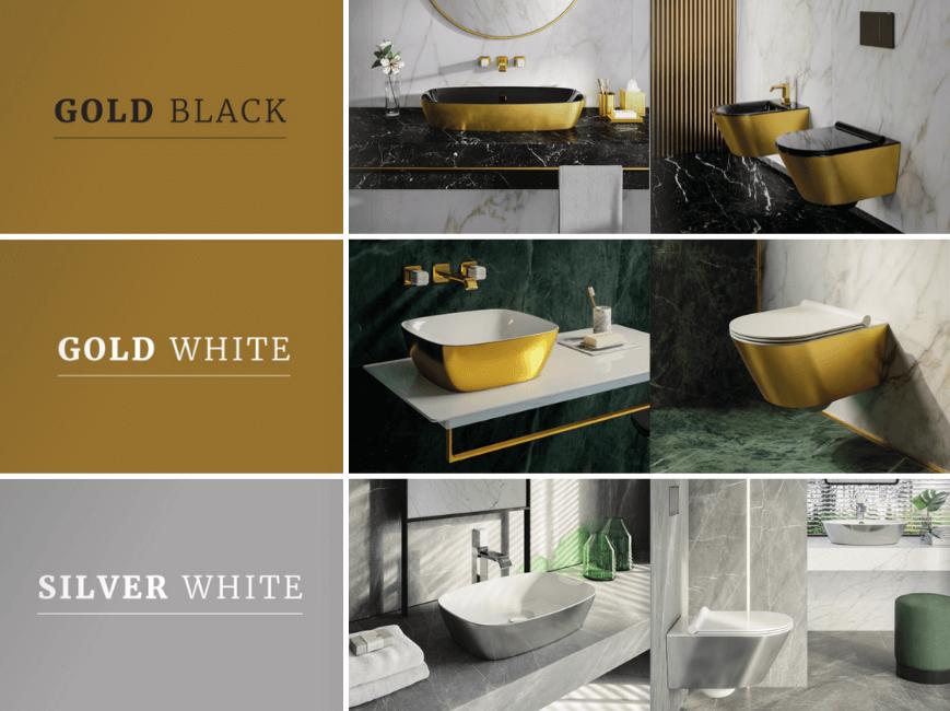 Catalano Gold & Silver, złota umywalka, srebrna umywalka, złota toaleta, srebrna toaleta, czarno-złota umywalka, ceramika łazienkowa glamour, luksusowa umywalka. Ceramika w Salon HOFF.