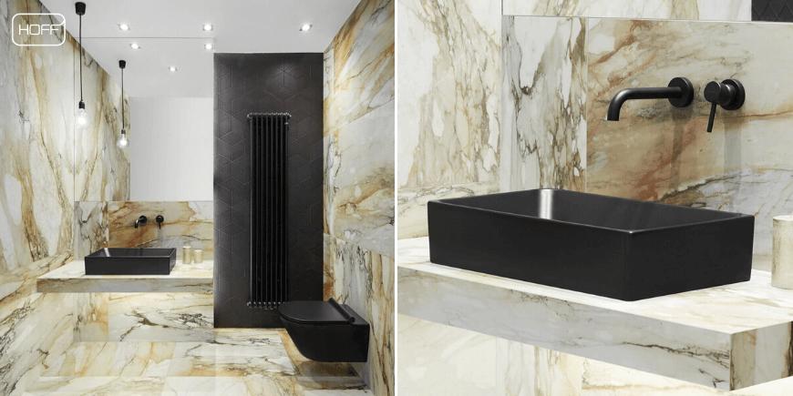 Czarna armatura do łazienki HOFF, czarna bateria umywalkowa HOFF, czarne baterie łazienkowe HOFF, Artykuł-Armatura przyszłości. Salon HOFF