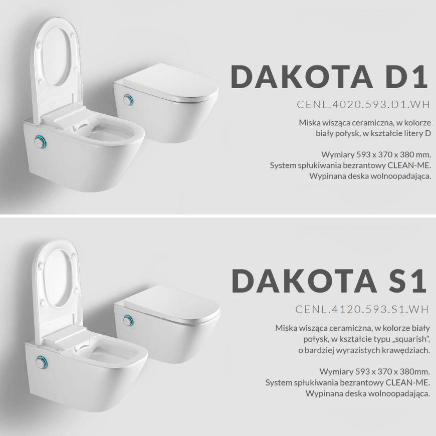 Toaleta myjąca DAKOTA Excellent w dwóch wersjach: owalnej i prostokątnej. Salon HOFF