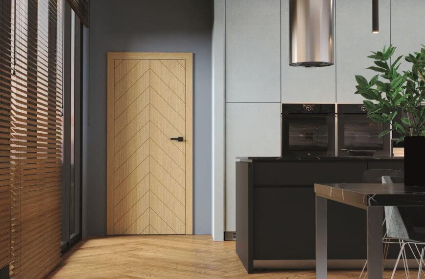 drzwi w jodełkę i naturalna podłoga