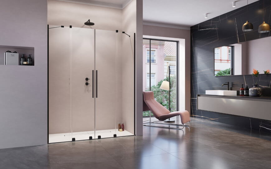 Drzwi wnękowe z czarnymi profilami i elementami z serii Furo Black DWD Radaway