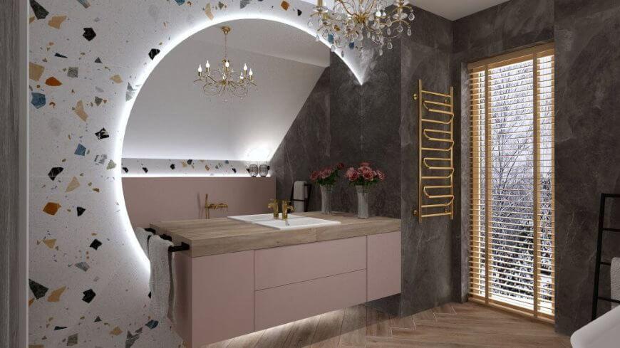 duże lustro łazienkowe - wizualizacja glamour salon hoff
