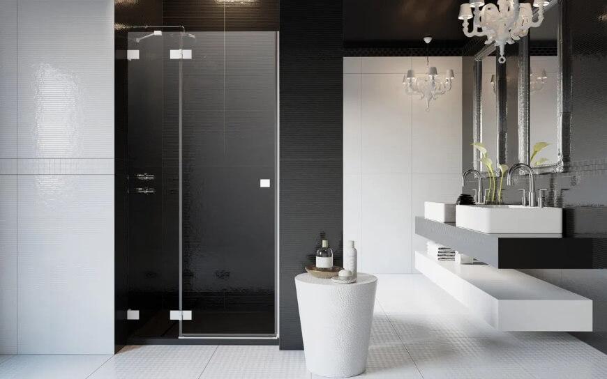 Białe profile i okucia w kabinie prysznicowej Essenza Pro White Radaway. Salon HOFF
