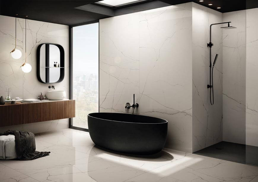 Aranżacje łazienek z płytkami XXL