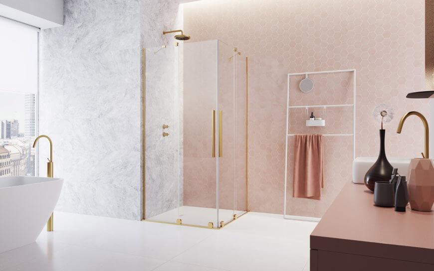 Kabina prysznicowa ze złotymi okuciami Furo Gold KDD Radaway