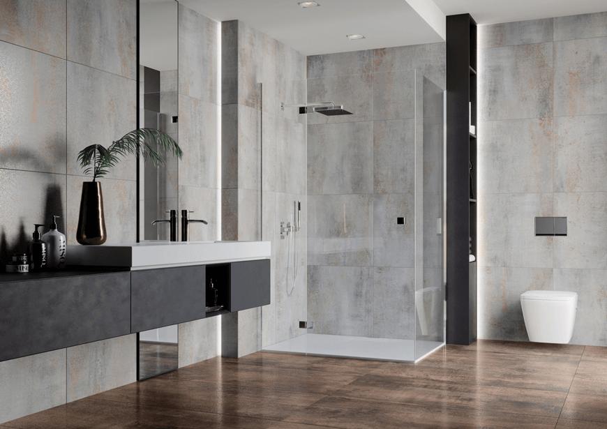 Hera Grey metalizujące płytki imitujące beton lappato Limone