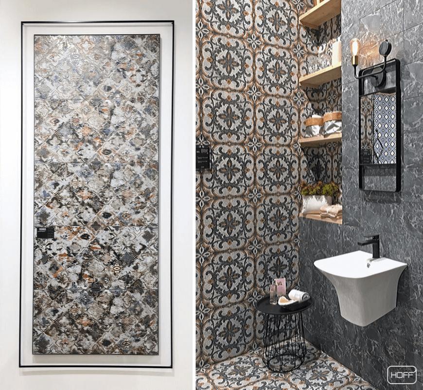 łazienka w stylu orientalnym, modna łazienka 2020, modne płytki do łazienki 2020, płytki patchworkowe, modny patchwork do łazienki, salon hoff, cersaie