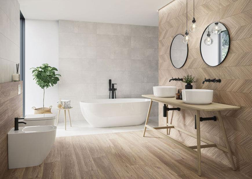 łazienka z wanną wolnostojącą z płaskim dnem - trendy łazienkowe 2021 salon HOFF
