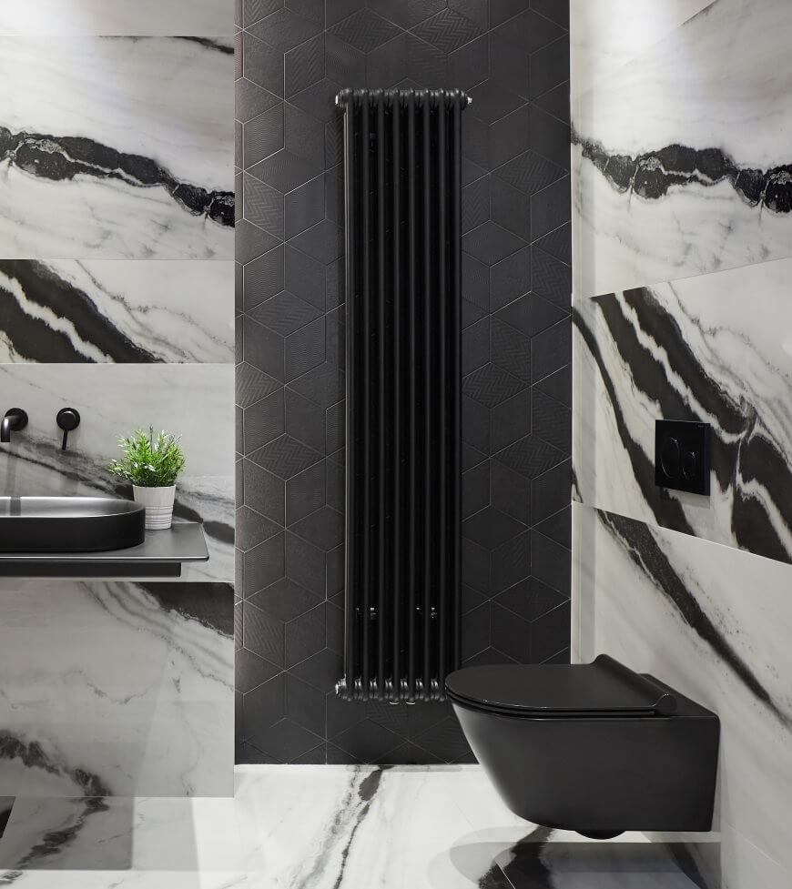 Loftowy grzejnik łazienkowy Grzejnik Tesi 2 1800x360 Nero Satin Irsap