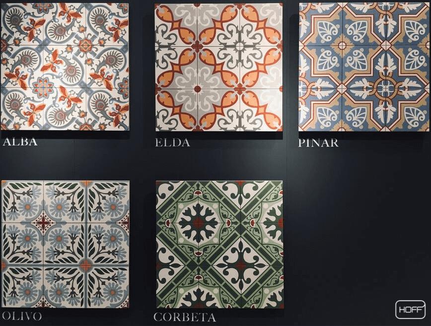 modne płytki patchworkowe 2020, modny patchwork do łazienki 2020, trendy łazienkowe, modne płytki do łazienki, salon hoff na targach Cersaie w Bolonii