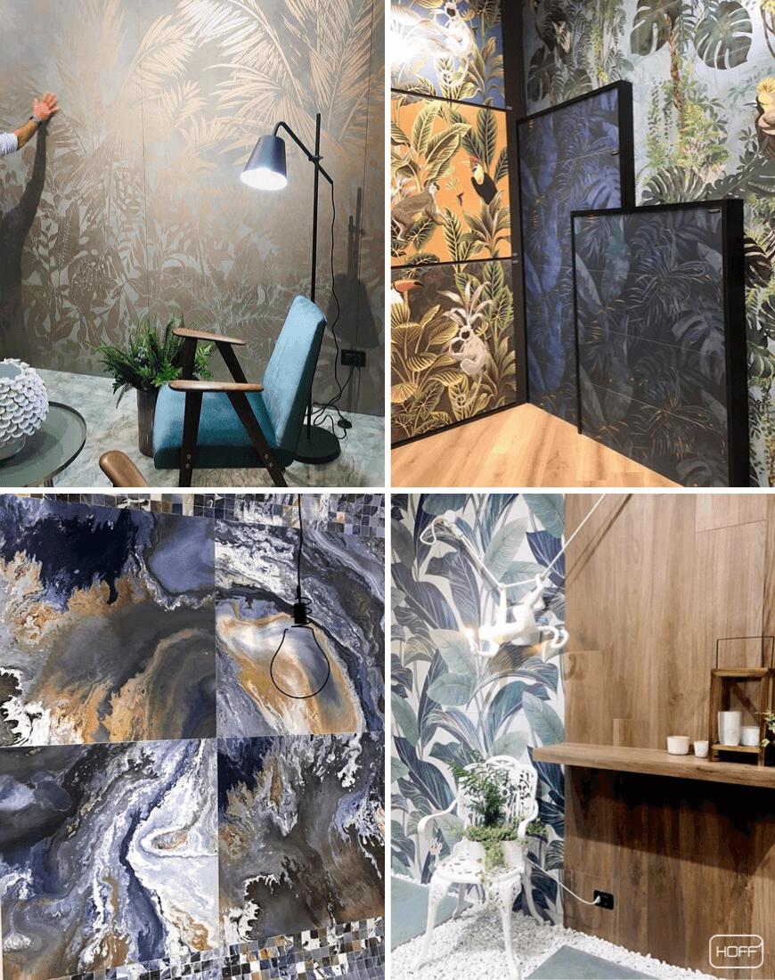motywy roślinne do łazienki, salon hoff, płytki imitujące tapetę, modna łazienka 2020, trendy łazienkowe 2020