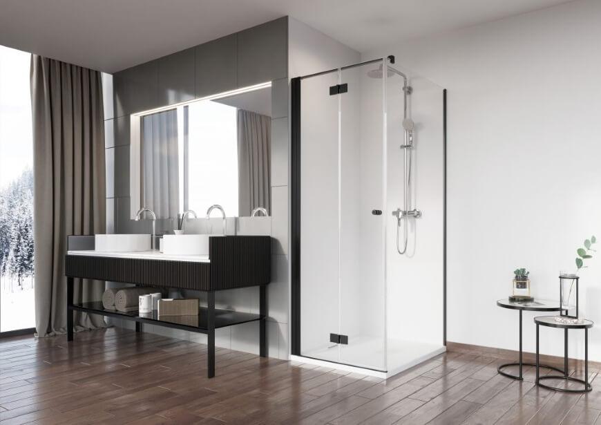 Nes Black KDJ czyli kabina prysznicowa z czarnymi profilami od Radaway. Salon HOFF