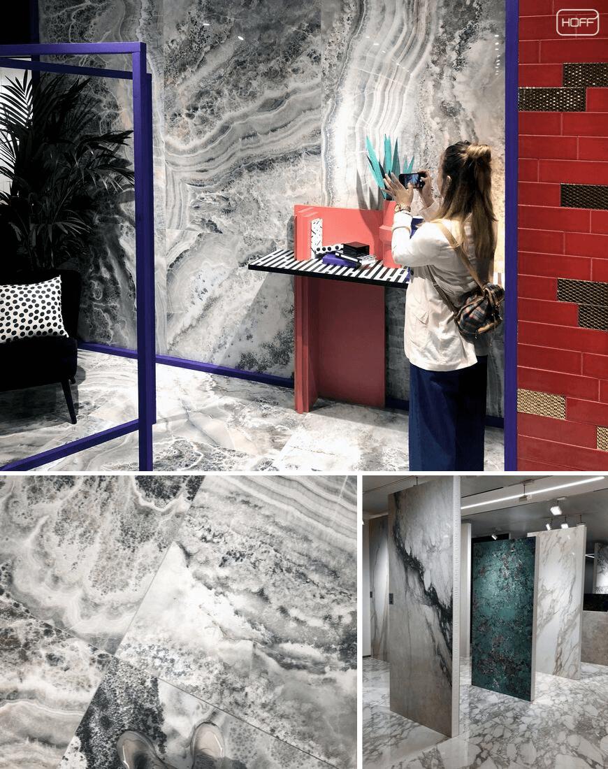 płytki imitujące kamień, płytki marmurowe, onyks, trendy łazienkowe 2020, targi Cersaie, modna łazienka 2020