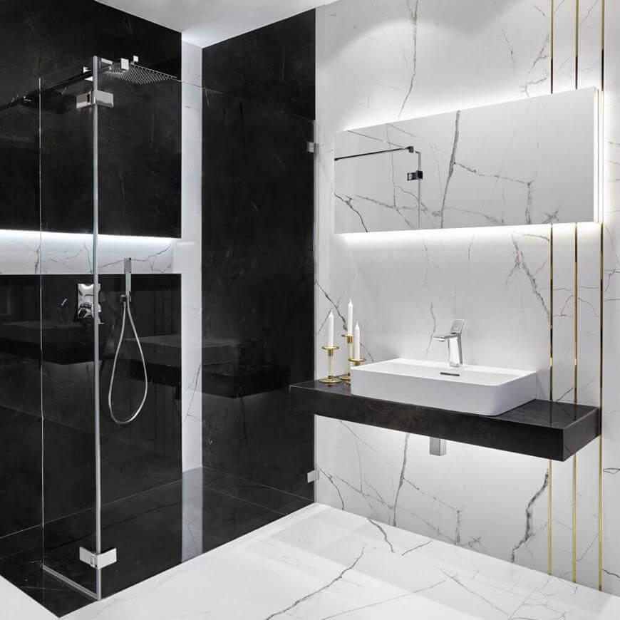 Płytki wielkoformatowe - aranżacje łazienek