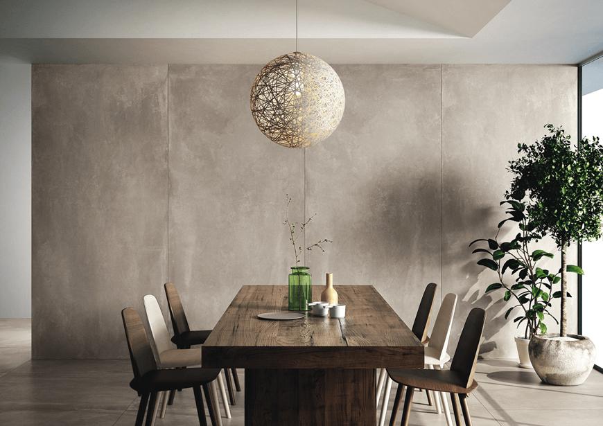 Płytki wielkoformatowe imitujące beton. Kolekcja Azuma, Imola. Salon HOFF. Trendy łazienkowe 2020. Płytki łazienkowe w dużym formacie.