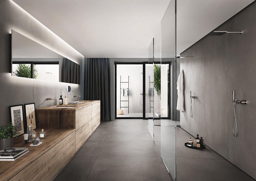 Płytki wielkoformatowe imitujące beton w łazience. Nowoczesna łazienka w betonie. Płytki ceramiczne, Kraków, Salon HOFF.