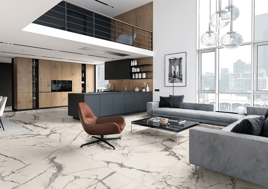 Płytki wielkoformatowe marmur calacatta. Kolekcja The Room, Imola. Trendy łazienkowe 2020 – Salon HOFF. Płytki ceramiczne Kraków.