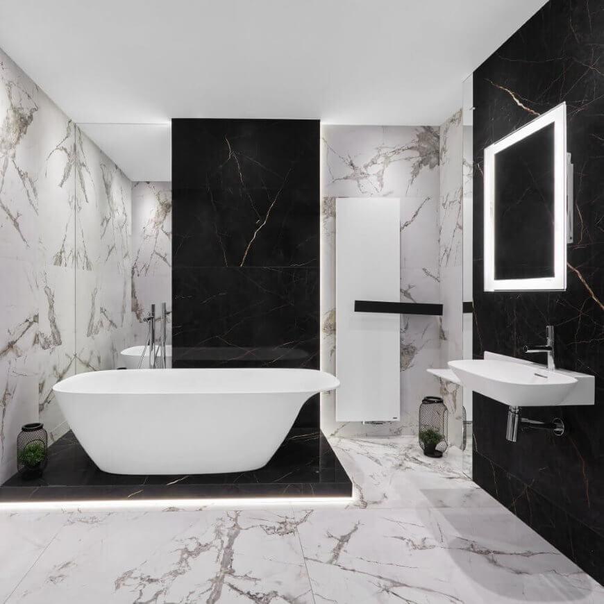 supreme-noir-laurent-aranzacja-lazienki z płytkami wielkoformatowymi marmur