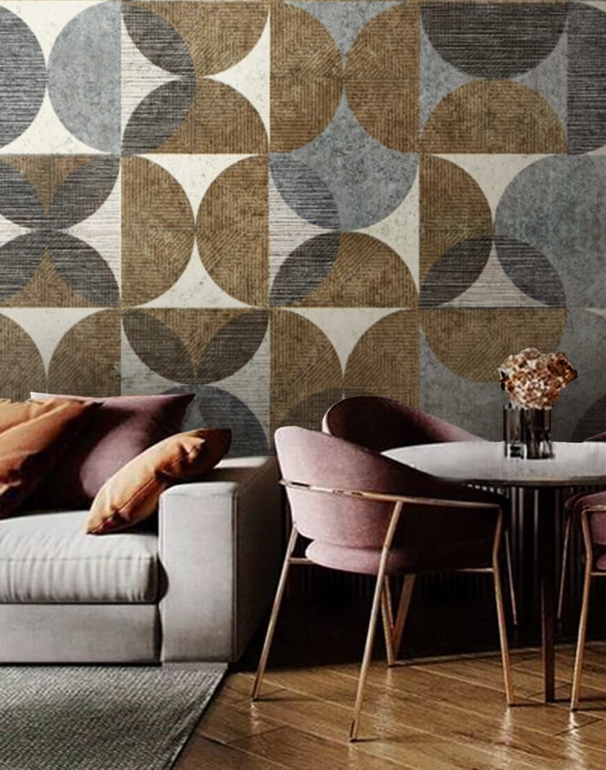 tapeta wielkoformatowa one wall design motwy geometryczny