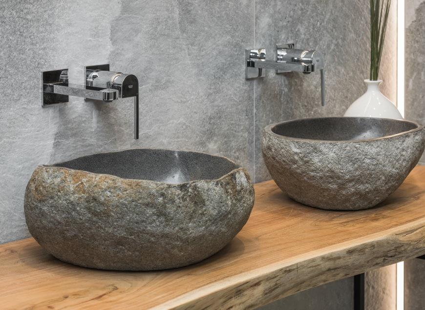 umywalki kamienne w aranżacji rock salt salon hoff - trendy łazienkowe 2021
