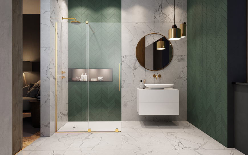 Złota kabina prysznicowa Furo Gold Walk-in Radaway