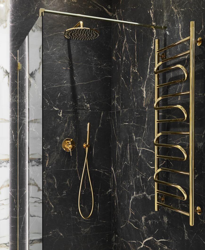 złoty grzejnik łazienkowy Elegy 1239x432 złoty Sunherzha